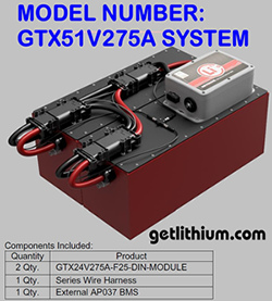 Lithionics Battery GTX 275 amp hour 51 Volt DC lithium-ion battery system with Battery Management System box.