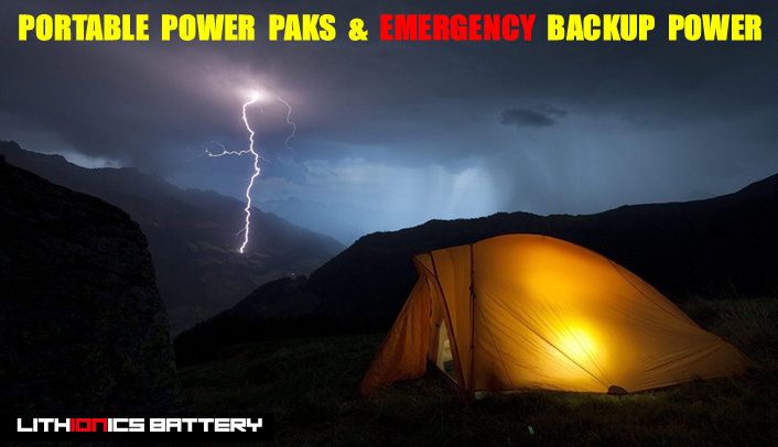 Lithium ion emergency backup power and portable power paks