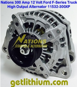Click here for a larger graphic of the Nations 300 Amp Ford F-Series truck high output alternator