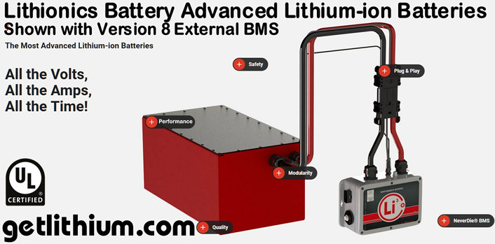 Lithionics Battery premium lithium-ion battery systems with UL approved NeverDie Battery Management Systems (BMS) for RV, Marine, Industrial projects and Off-grid Solar Power projects