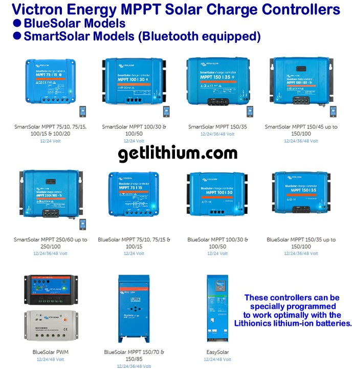 Click here for a larger image of the Victron MPPT solar charge controllers for RV, Marine and other solar power projects