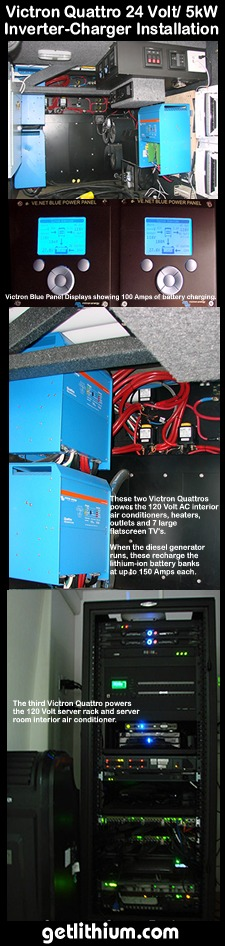 Victron Energy 24 Volt Quattro 5kW inverter chargers installed on a corporate tour bus