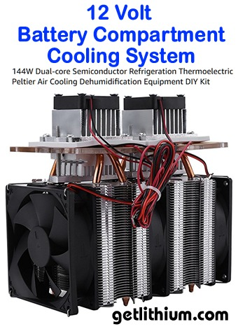 12 Volt battery cooling system - complete with programmable monitor, temperature probe with 6 feet of wire, 144 Watt Peltier style refrigeration unit and 12 Volt relay.