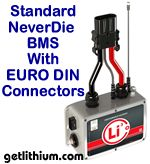 Lithionics Standard Series NeverDie Battery Management System box (BMS) with State of Charge Kit sending unit built-in and plug and play EURO DIN connectors