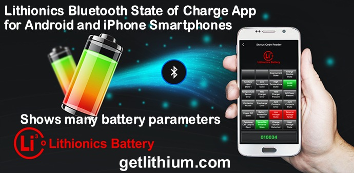 Lithionics Bluetooth State of Charge App for Android and iPhone Smartphones