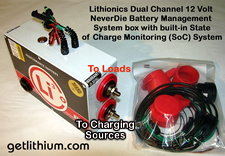 Lithionics Battery Dual Channel Battery Management System box for Solar Power Systems with High and Low Voltage cutoff protections as well as special Voltage sensors to prevent MPPT Solar Charge Controllers from draining battery power when there is no solar output. Click for larger image...
