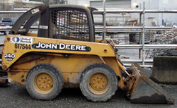 Track and wheel loaders such as this John Deere 240 can benefit from our lithium ion batteries