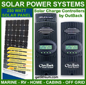 320 watt high efficiency solar panels and OutBack Power solar charge controllers