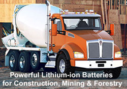 Cement trucks and truck fleets  will get a great return on investment from our lithium ion truck batteries.