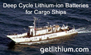 Commercial cargo ship lithium-ion deep cycle and diesel engine starting batterie