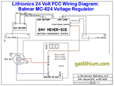 Click on the image for a larger FCC wiring diagram of the Balmar MC-624 external Voltage Regulator