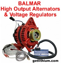 High output alternators by Nations, DC Power, Balmar and others with external voltage regulators