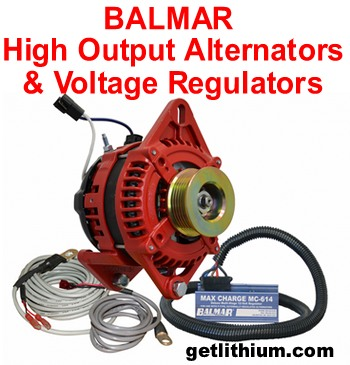 "Balmar high output ""red case"" marine alternator with Balmar MC series external Voltage regulator"