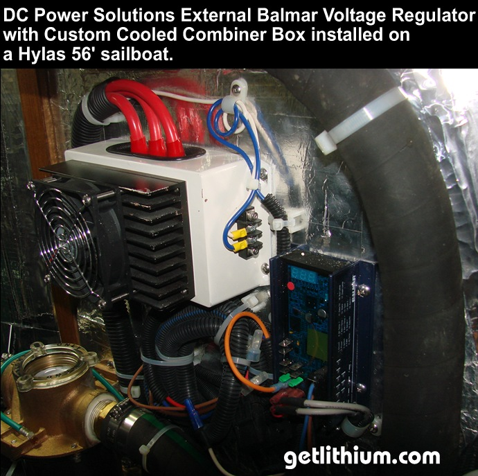 DC Power Solutions Balmar MC-614 external Voltage regulator and custom cooled combiner box for high output Volvo-Penta diesel marine engine alternator