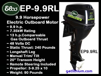 Elco EP-10 electric outboard motor - Click for details on this 10 horsepower electric outboard engine...