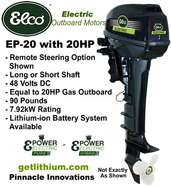 Elco EP-20 electric outboard motor - Click for details on this 20 horsepower electric outboard engine...