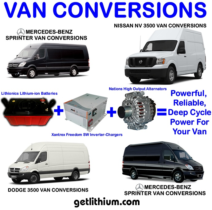 Mercedes-Benz, Dodge, Nissan van conversion with lithium-ion battery, Xantrex inverter-charger and Nations alternator upgrade