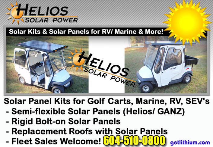 Solar EV and Helios Solar Power solar panel kits and replacement solar roofs for electric golf carts, LSVs, RVs, Sailboats, Yachts, Van Conversions and more