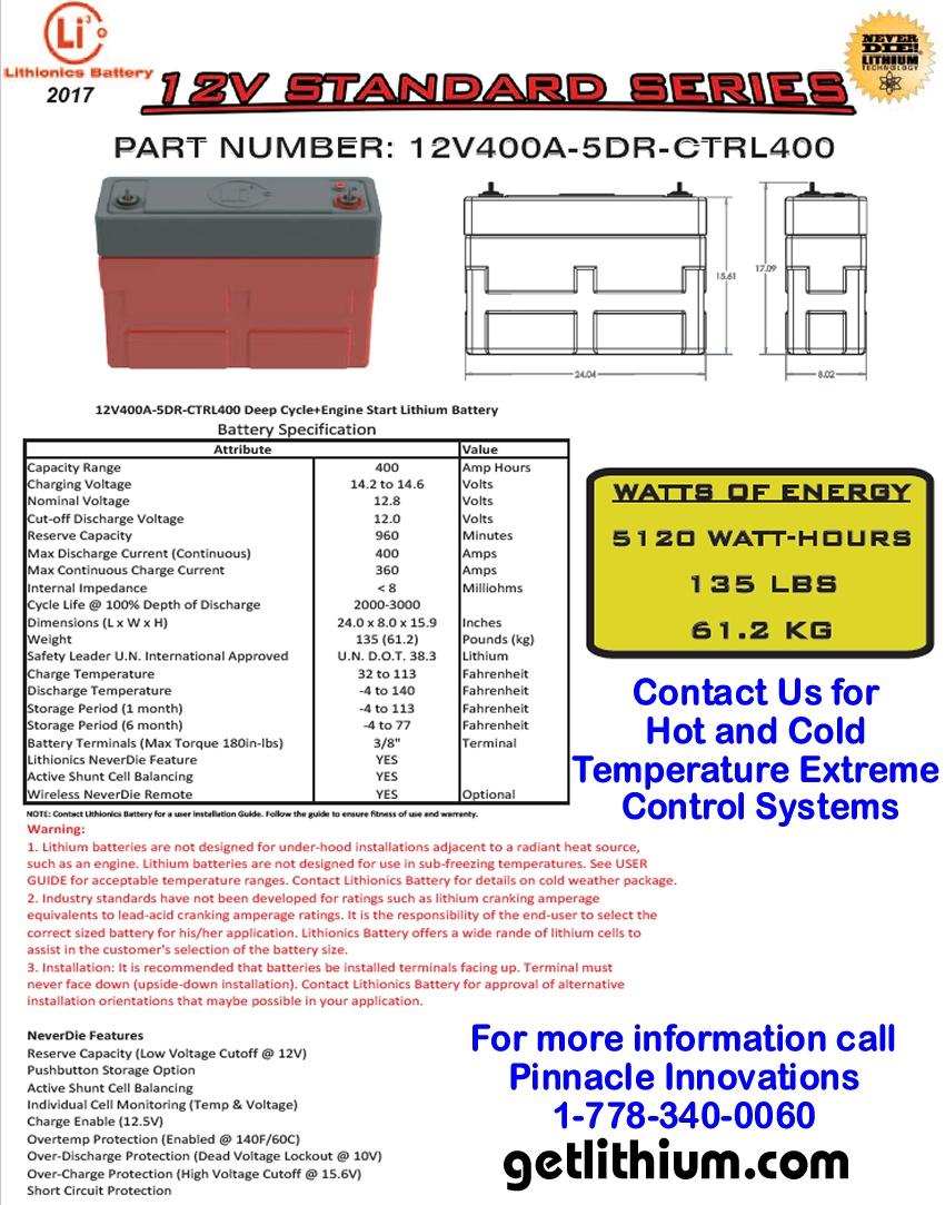 Standard Series 12 Volt (12V) 400 amp hour 5DR 400 Amp Lithium Ion
