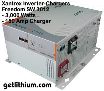 Xantrex inverter-chargers including Freedom SW 3012 inverter-charger for RV and marine electrical installations
