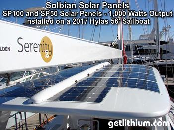 1000 Watt Solbian solar panel system installed on a 2017 Hylas 56' sailboat